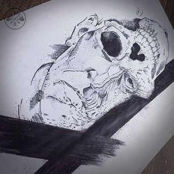 эскиз тату череп