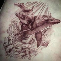 Тату дельфин эскиз