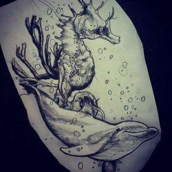 фото, эскиз татуировка дельфин
