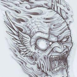 Эскизы демона с оскалом и крыльями
