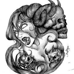 Девушка с демоном и оскалом