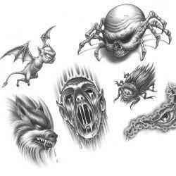 Набор эскизов с демоном