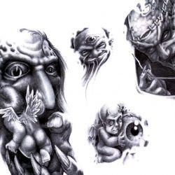 Несколько вариантов эскизов с демоном и ангелочком
