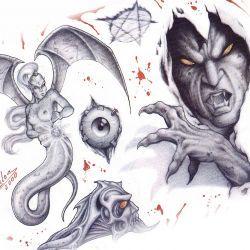 Несколько вариантов эскизов на тему демона