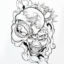 Нарисованный череп с демоном