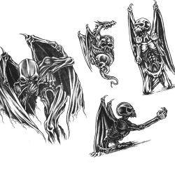 Крылатые демоны в виде летучей мыши и изображения скелета