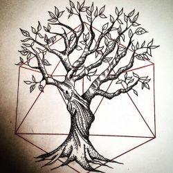 эскиз татуировка дерево