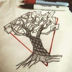 фото, эскиз татуировка дерево