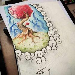 фото, эскиз тату дерево