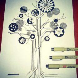 дерево фото, эскиз