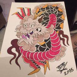 эскиз татуировка дракон