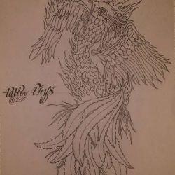 Татуировка феникс эскиз