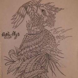 татуировка феникс фото, эскиз