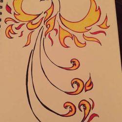 эскиз татуировка феникс