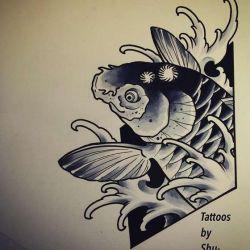 Татуировка карп эскиз