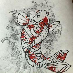 фото, эскиз татуировка карп