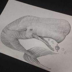 Татуировка кит эскиз