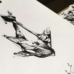 эскиз татуировка кит