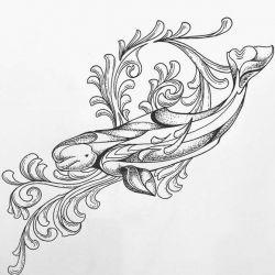 фото, эскиз татуировка кит