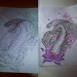 татуировка кобра фото, эскиз