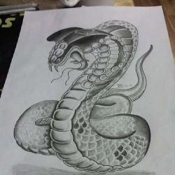 эскиз татуировка кобра