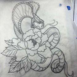 эскиз тату кобра