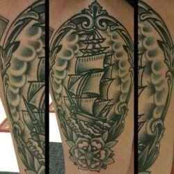 фотография татуировка корабль
