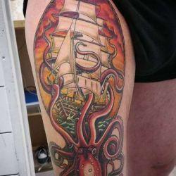 Татуировка корабль фото