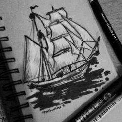 Татуировка корабль эскиз