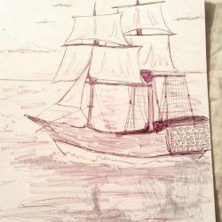 татуировка корабль фото, эскиз