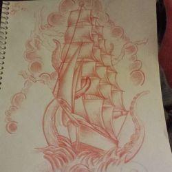 эскиз татуировка корабль