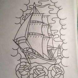 фото, эскиз татуировка корабль