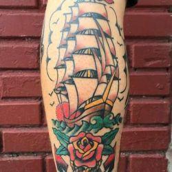 татуировка корабль фотография