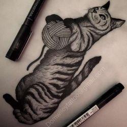 Татуировка кошка эскиз