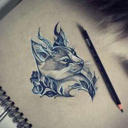 татуировка кошка фото, эскиз