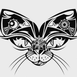 татуировка кот фото, эскиз