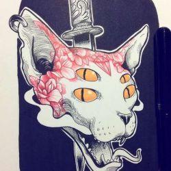 фото, эскиз татуировка кот