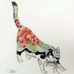 фото, эскиз тату кот