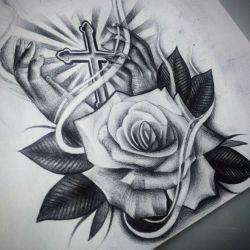 Значение тату крест и роза