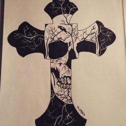 эскиз татуировка крест