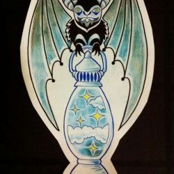 татуировка летучая мышь фото, эскиз