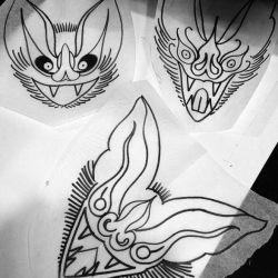 Татуировка летучая мышь эскиз