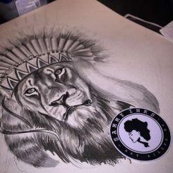 эскиз татуировка лев