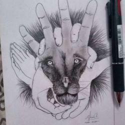 фото, эскиз татуировка лев
