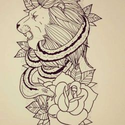 Татуировка лев эскиз