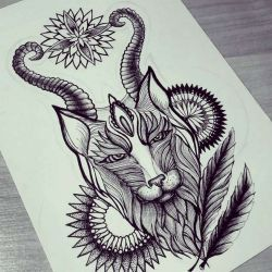 Татуировка лиса эскиз