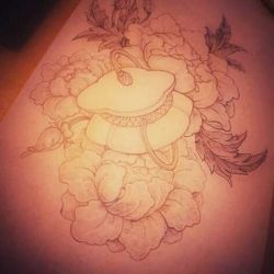 фото, эскиз татуировка лотос