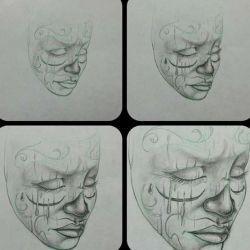 эскиз тату маски