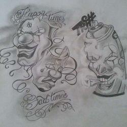 Татуировка маски эскиз