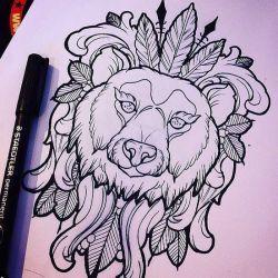 тату медведь эскиз